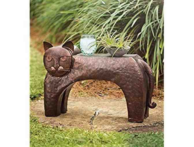 WIND & WEATHER CAT PATIO METAL SIDE TABLE, 27.25 L x 9.75 W x 17 H COPPER - Photo 1