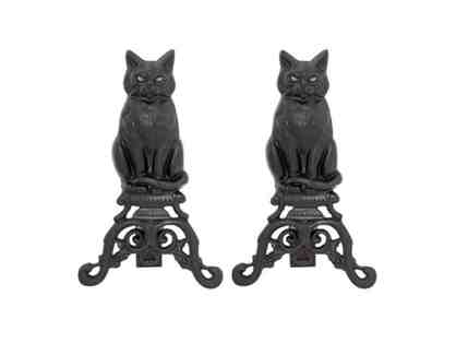 BLACK CAT FIREPLACE ANDIRONS, PAIR