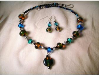 Peacock Necklace & Matching Earrings Artisan Jewelry Set