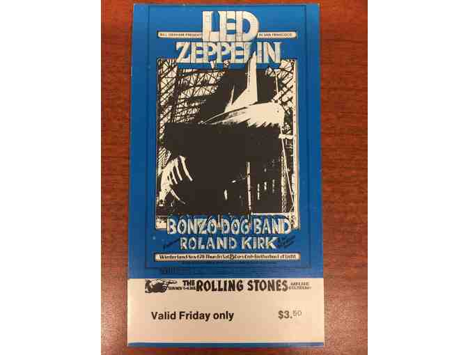 Autographed Robert Plant Back Stage Pass and Led Zeppelin 1969 Vintage Ticket