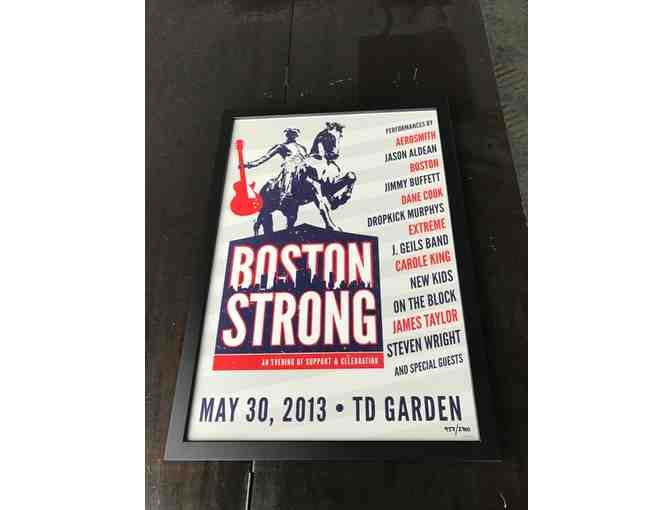 Three Boston Red Sox Tickets and Framed Boston Strong Poster