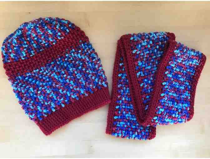 Scarves of Love - Blue and Red Hat and Scarf Set