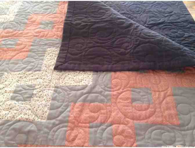 Lap Size Quilt - Grey and Salmon