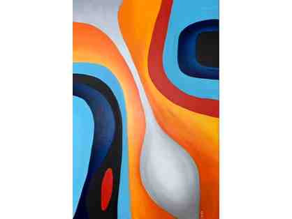 Abstract Art in Orange, Gray and Blue