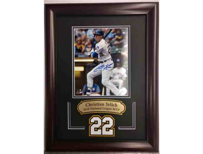 Yelich-8X10 photo autographed, framed laser cut double matted and MVP engraved plate