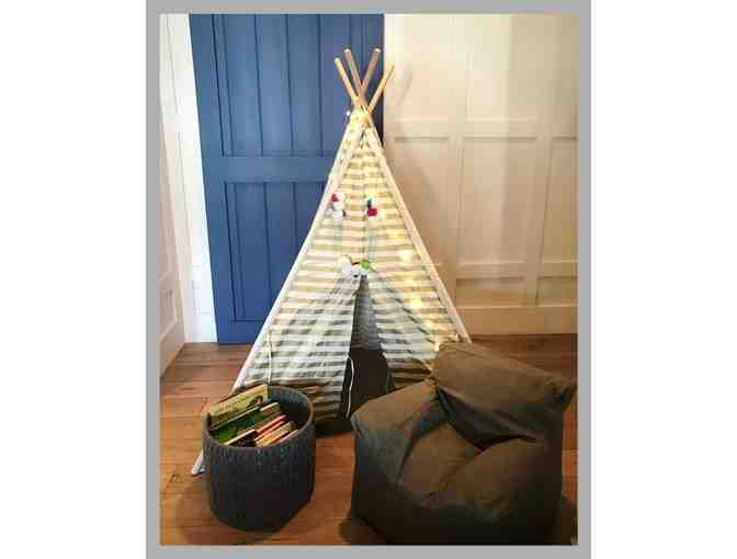Story Time Corner: Restoration Tee Pee  & Bean Bag Chair, Lights, & Basket of 23 Books