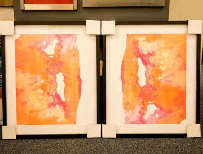 CDC Designs- -Two Large Orange and Coral Prints