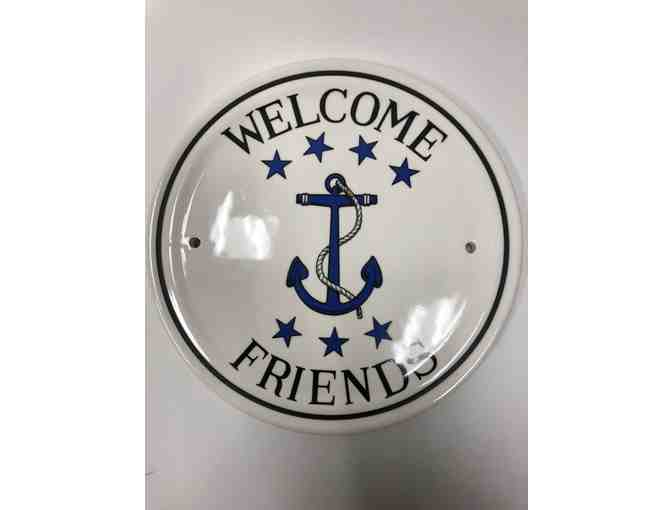Balboa Island Cottage Plates - Anchor Welcome Friends Plate