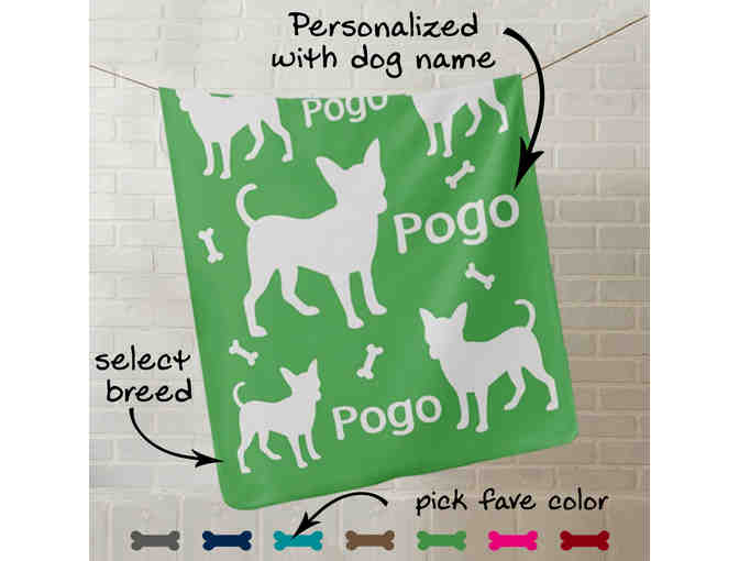 Fleece Blanket Personalized with your Dog's Name and Breed