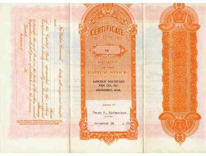 Historic Stock Certificate, Le Boeuf Fountain Pen Co., November, 1929