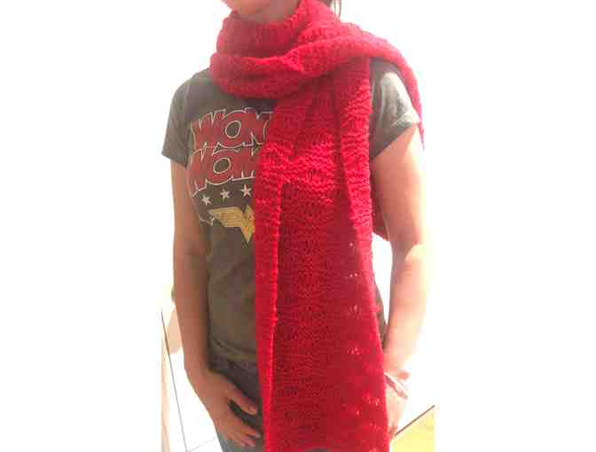 Real Red Shawl  - hand knitted