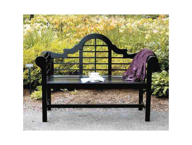 Black Lutyens Garden Bench by Achla Designs in Fitchburg, MA