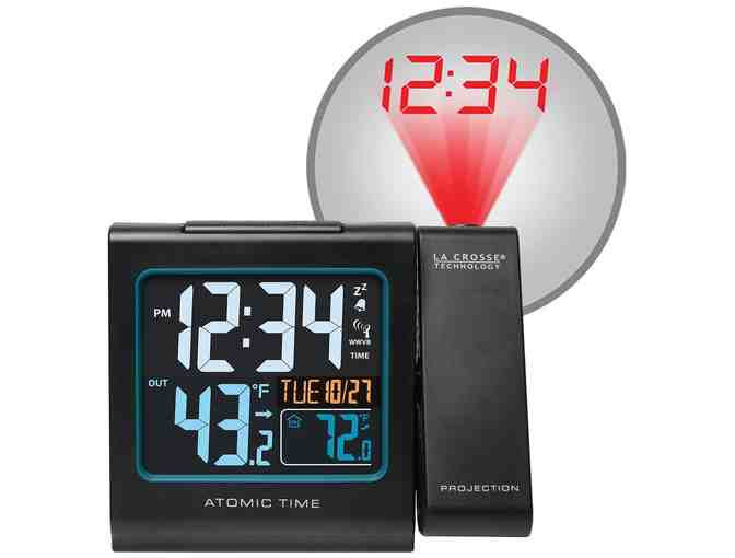 Atomic Projection Alarm Clock with Indoor/Outdoor Temperature