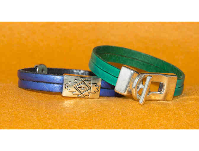 Double Band Leather Bracelets with Decorative Closures, Set of Two