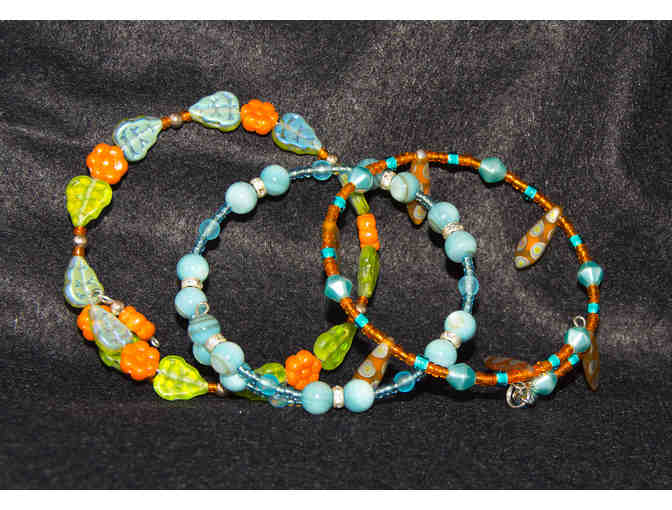 Orange, Turquoise, and Green Glass Bead Bracelets, Set of Three