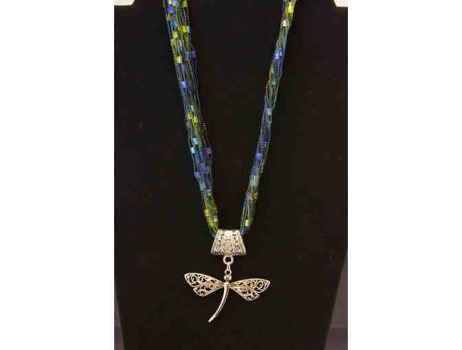 Trellis Ladder Yarn Necklace with Dragonfly Pendant