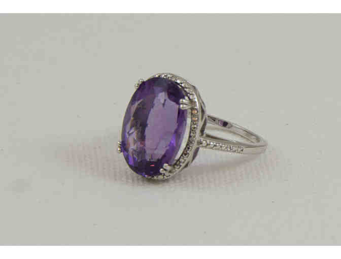 Sterling Silver and Purple Stone Basket Ring