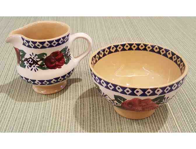 Nicholas Mosse Pottery - Small Pitcher and Bowl, Kilfane Rose Pattern, Retired