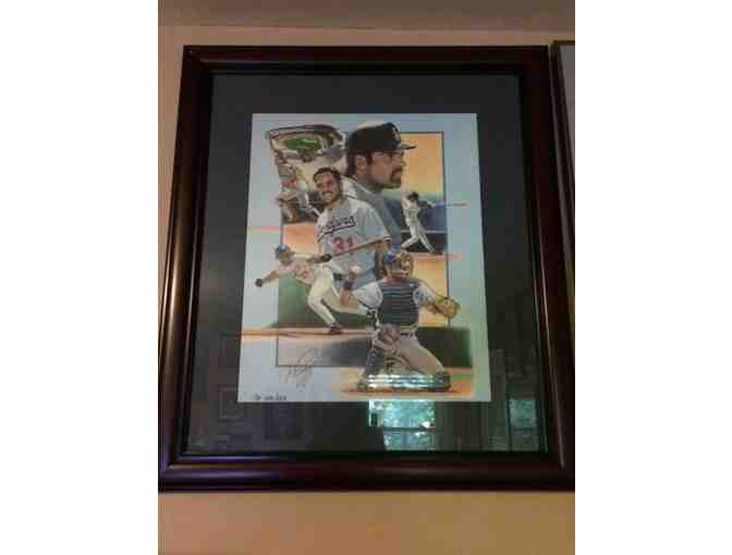 Mike Piazza Los Angeles Dodgers Autographed Artwork
