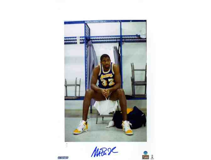 Magic Johnson LA Lakers Autographed Sitting in Locker Photo