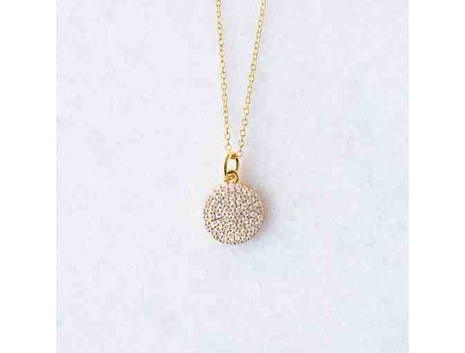Golden Thread Cubic Zirconia Disc Necklace