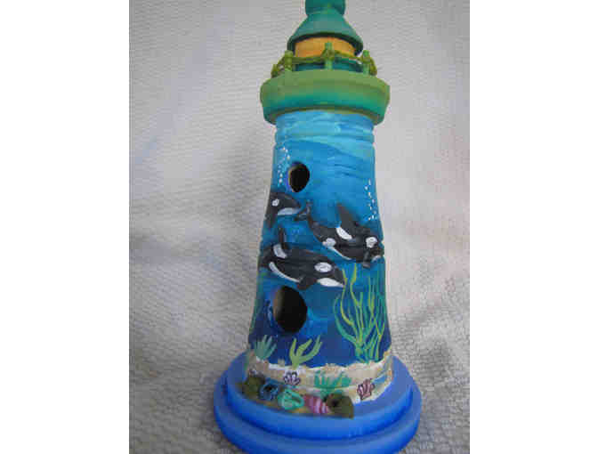 Birdhouse-Lighthouse with Orca Family