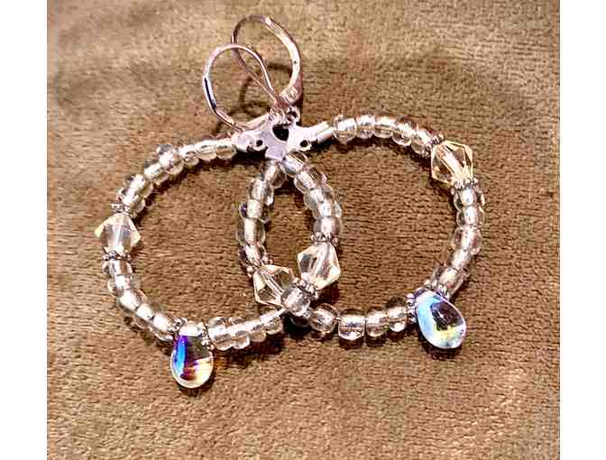 Clear bead hoop earrings