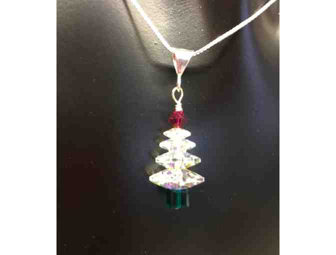 Swarovski Clear red and green Sterling X-mas tree earrings and necklace