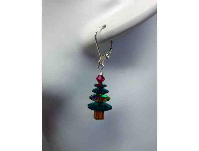 Swarovski crystal green and clear sterling X-mas tree earrings