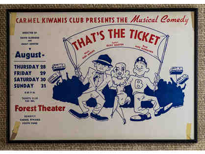 142. That's The Ticket by Don Adams, Ric Masten, Mike Monaman. 1960s Kiwanis Event. Framed