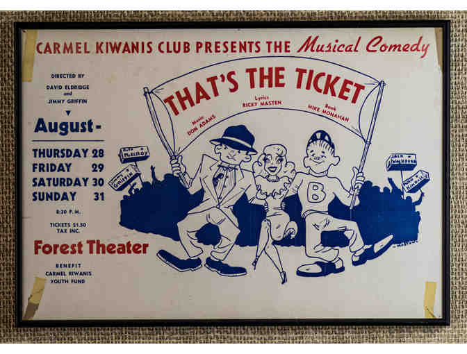 142. That's The Ticket by Don Adams, Ric Masten, Mike Monaman. 1960s Kiwanis Event. Framed - Photo 1
