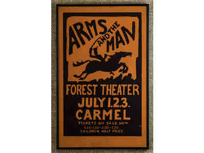 109. Arms at the Man Forest Theater July 1, 2, 3 Vintage 1926 Poster, framed.