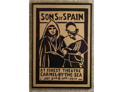 102. Sons of Spain at Forest Theatre, Carmel-by-the-Sea. Vintage 1914 Poster, framed.