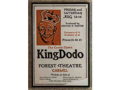 110. The Comic Opera King Dodo, vintage 1926 Poster, framed.