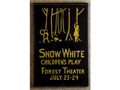 105. Snow White Children's Play Forest Theater July 23-24 Vintage 1920 Poster, framed.