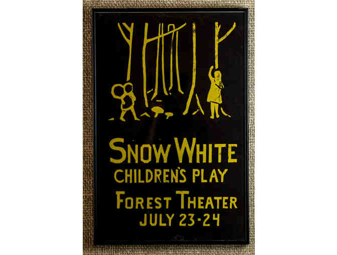 105. Snow White Children's Play Forest Theater July 23-24 Vintage 1920 Poster, framed. - Photo 1