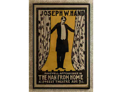 104. Joseph W Hand Farewell Appearance in The Man From Home, Vintage 1915 Poster, Framed.