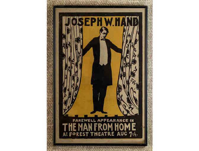 104. Joseph W Hand Farewell Appearance in The Man From Home, Vintage 1915 Poster, Framed. - Photo 1