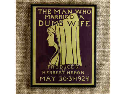 107. The Man Who Married A Dumb Wife. Vintage 1924 Poster, framed.