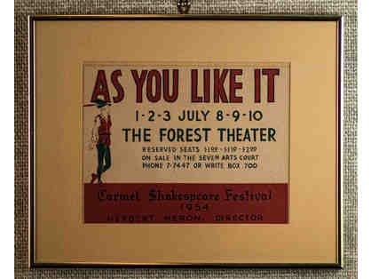 140. As You Like It, Vintage Forest Theatre Poster, 1954. Framed.
