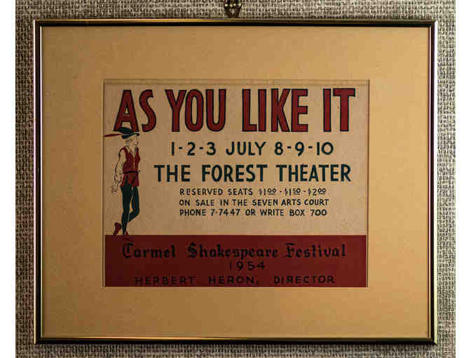 140. As You Like It, Vintage Forest Theatre Poster, 1954. Framed. - Photo 1