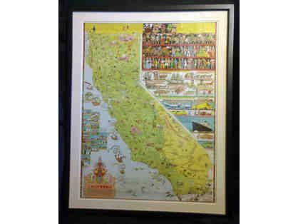 2 - Vintage Jo Mora California Map, 1945. Framed.