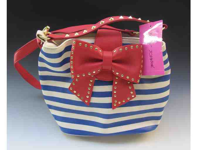 "Betsey Johnson Purse - ""Hopeless Romantic Stripe"" - Photo 1"