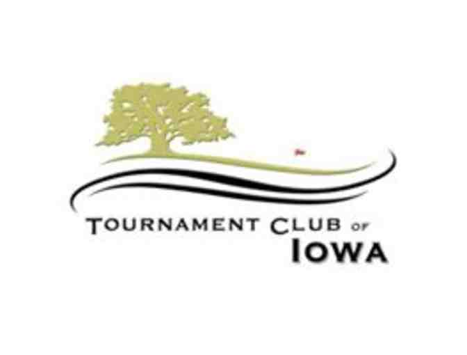Tournament Club of Iowa -- A foursome with carts