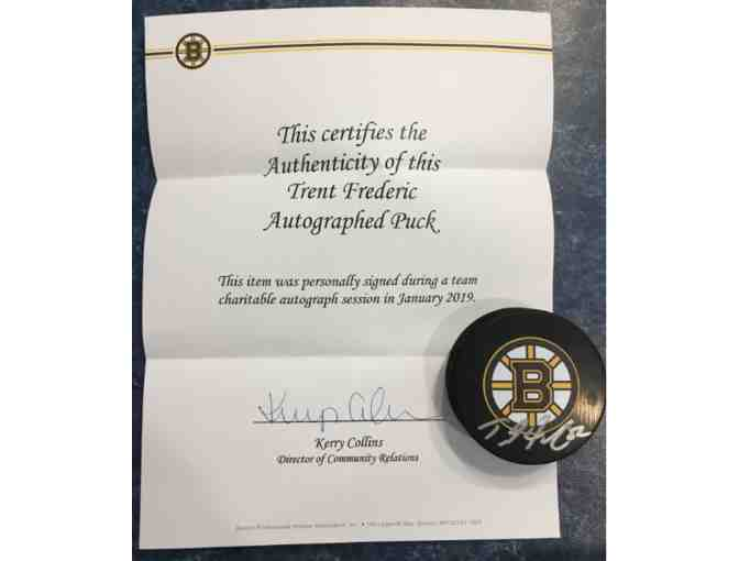Official Trent Frederic (Boston Bruins) Autographed Puck