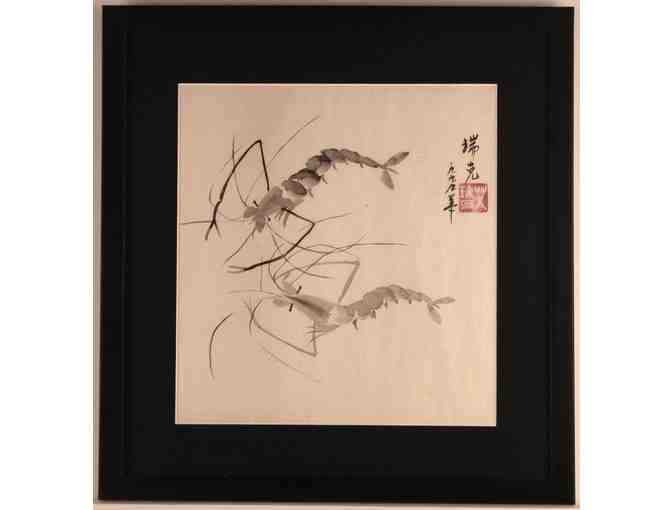 Dancing Shrimp Sumi Painting