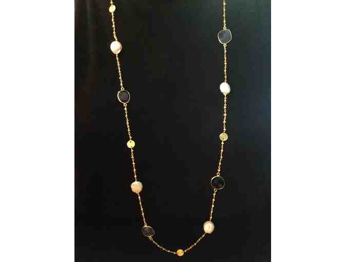 Olivia Engel Black Onyx, Sapphire, & Pearl Necklace