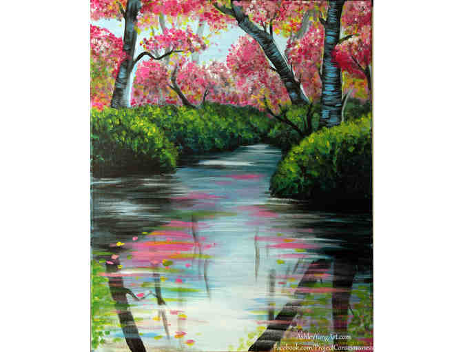 'Spring River' 9x12 Acrylic on Canvas signed by Artist Ashley Yangart