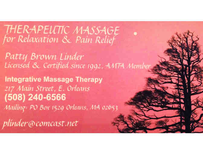 MASSAGE PACKAGE, THREE ONE HOUR MASSAGES WITH PATTY BROWN LINDER, LICENSED THERAPIST