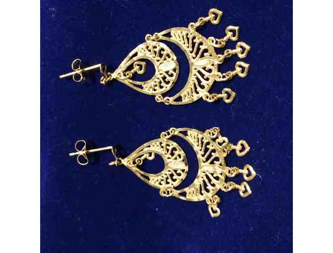 14K Yellow Gold Chandelier style earrings with 2-tier filigree dangle with hearts